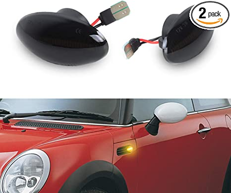 2x Smoked Rear Red LED Side Marker Light Lamp For MINI Cooper R50 R52 R53 02-08