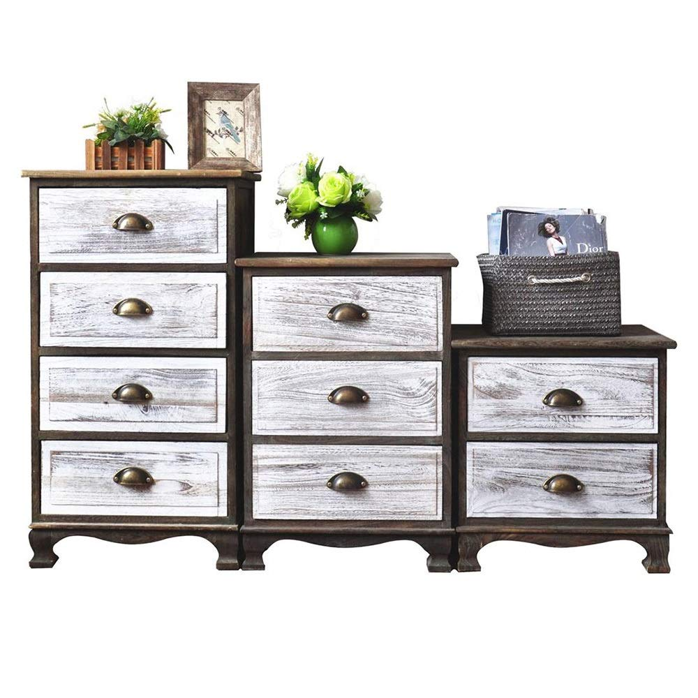 Carriemeow Bedroom Bedside Table Solid Wood Drawer Storage Drawer Cabinet Living Room Locker (Size : Two layers453046cm)