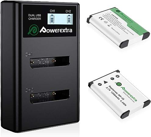 Image ofPowerextra - Batería de repuesto y cargador LCD dual para Fujifilm NP-45A NP-45B NP-45S, Fujifilm FinePix XP20 XP30 XP50 XP60 XP70 XP80 XP90 XP120 XP130 T350 T360 T400 T500 T560 0 JX5. 00 JX520.