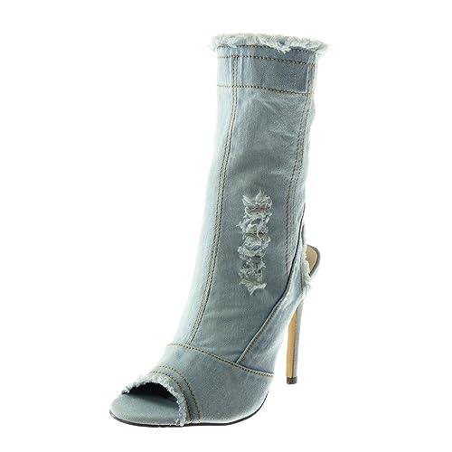 Angkorly - Zapatillas Moda Botines Stiletto Jeans Denim Peep-Toe Mujer deshilachada Rasgado Tacón de