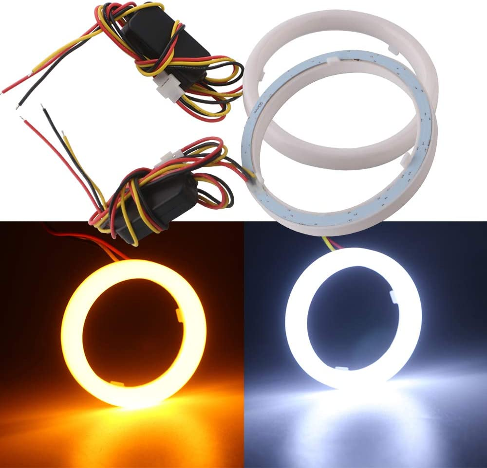 Qasim 1 pair of LED Angel Eyes Halo Rings 120MM 4.72/'/' White+Amber Switchback for Car Motorcycle Headlight DRL Fog Light 4014 144SMD DC12V