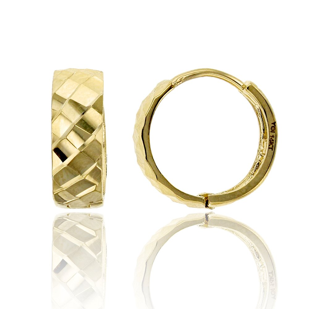 14K Yellow Gold 4.25x12.30mm Mosaic Huggie Earring
