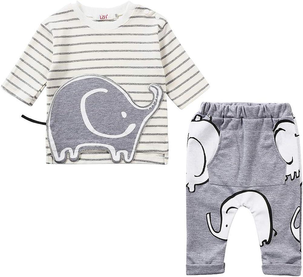 LZH Toddler Baby Boys 2Pcs Conjunto de Ropa de Manga Larga con Estampado de Elefante Tops para bebés Pantalones Trajes de algodón Sweatsuit