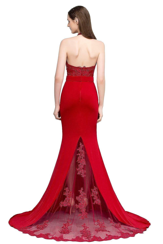 MisShow® Damen Elegant Neckholder Meerjungfrau Abendkleid Ballkleid ...