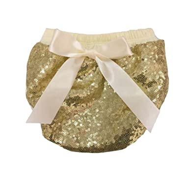 fd8b19e26 Amazon.com  Coralup Baby Girls Bling Sequin Tie Bow Bloomers Diaper ...