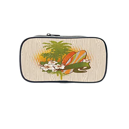 """Review Personal Tailor Pen Bag,Surf,Illustration of Funky Summer Insignia with Palms and Surfboard Tidal Bore Print,Green Yellow Pink,for Students,Comfortable Design.8.7""""×4.3""""×1.8"""""""