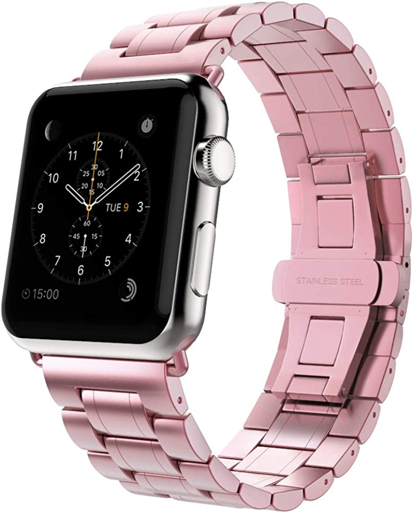 MoKo Watch Band Compatible with Watch 38mm 40mm Series 6/5/4/3/2/1, Stainless Steel Replacement Band Bracelet with Double Button Folding Clasp for iWatch SE 40mm - Rose Pink