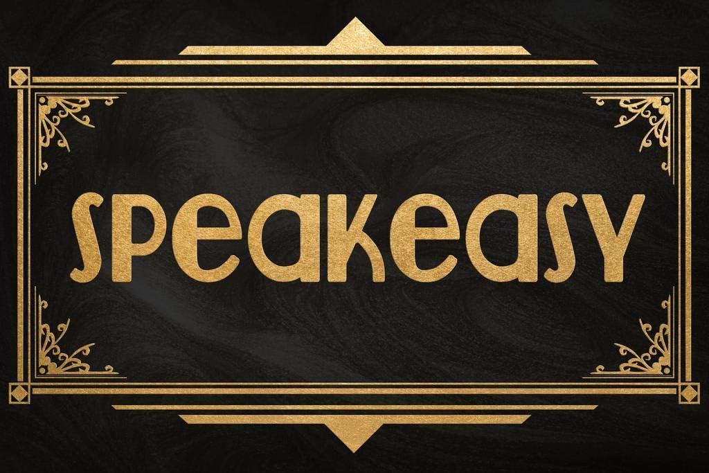 Speakeasy Sign Black Gold Art Deco Retro Cool Wall Decor Art Print Poster 24x36