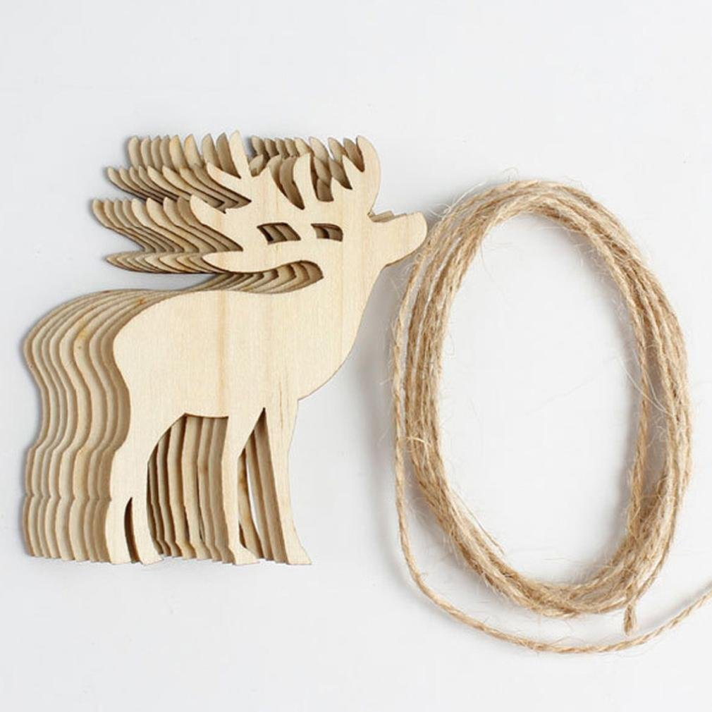 10pcs Christmas Tree Wooden Ornaments, Staron Hot Xmas Tree Festival Decoration Supplies Accessories Chip Hanging Pendant Decoration Ornament Gifts (A)