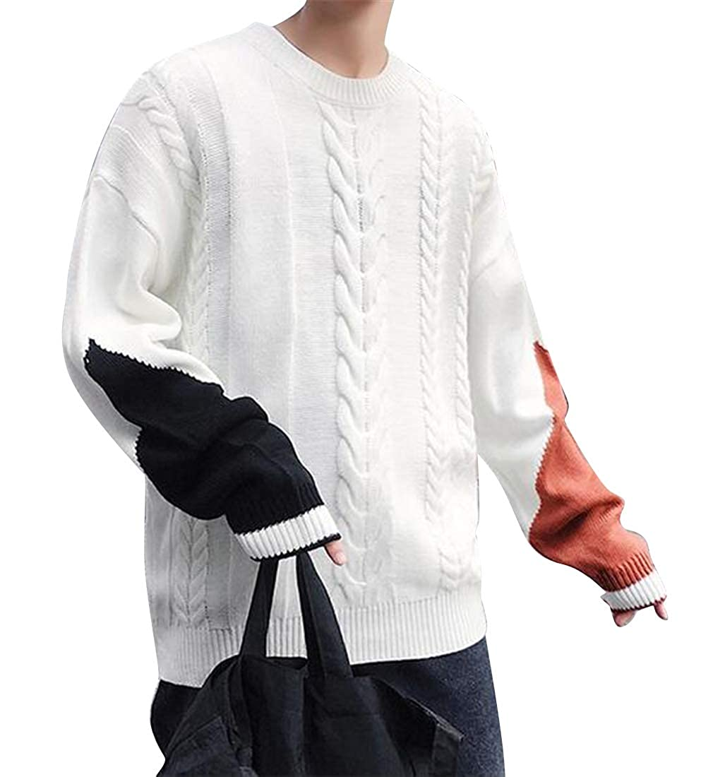 Fubotevic Men Loose Fit Twist Knitted Plus Size Crew Neck Color Blocked Pullover Sweaters