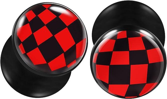 Red Star Logo Black UV Double Flared Ear Plug Body Jewelry