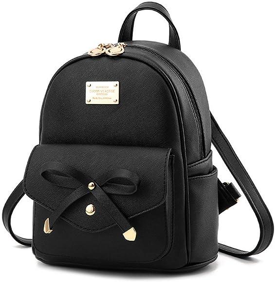 UK Women Girls Mini Faux Leather Backpack Rucksack School Bag Travel Handbag