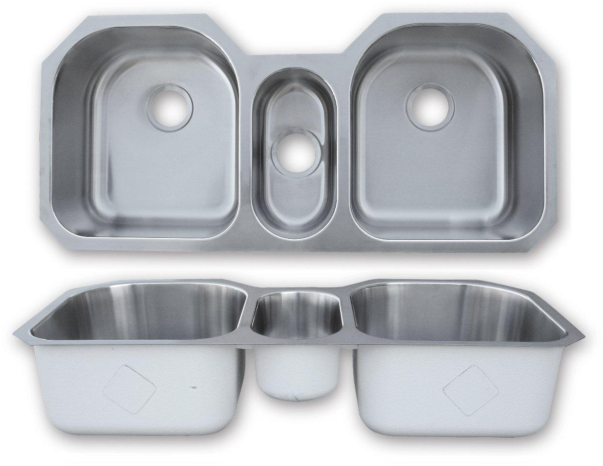 Amazon.com: 43 inch x 20 inch 16 Gauge Undermount Triple Stainless on 6 inch deep kitchen sink, stainless steel kitchen sinks, 7 inch kitchen sinks, 6 inch depth cabinets, undermount kitchen sinks,