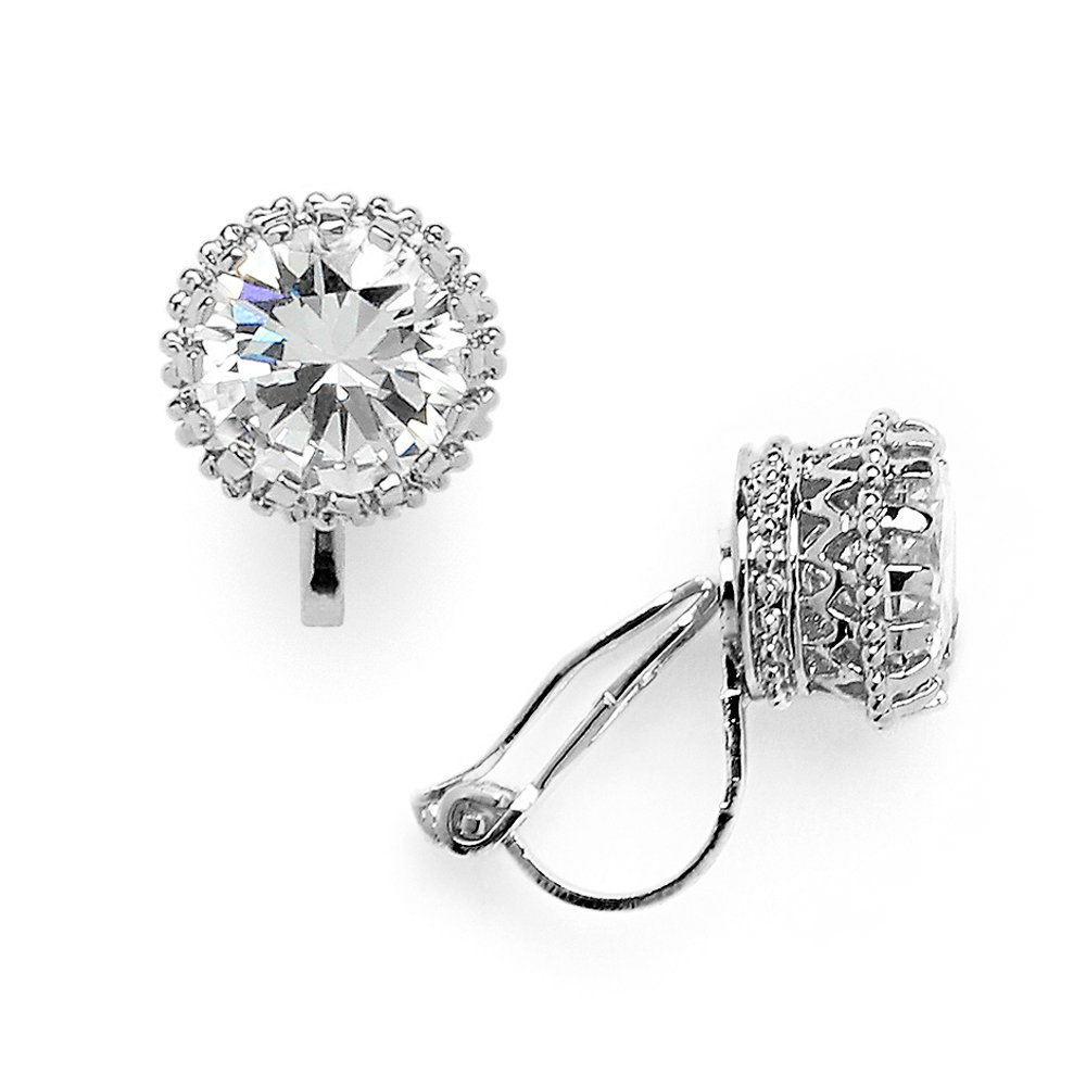 Mariell Crown Setting Clip-On Cubic Zirconia Stud Earrings - Regal Platinum Plated 2 Ct. Round Solitaire
