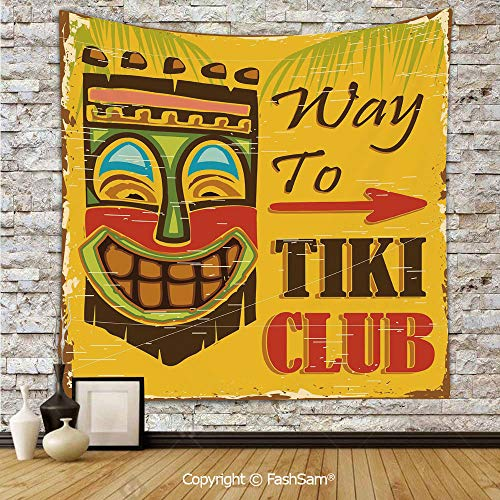 FashSam Tapestry Wall Blanket Wall Decor Way to Tiki Club Vintage Poster Design Grunge Polynesian Exotic Retro Print Decorative Home Decorations for Bedroom(W51xL59) -
