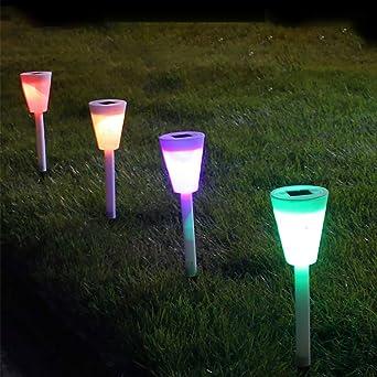 VijTIAN 3 luces solares para jardín, luces LED coloridas para caminar, iluminar tu espacio al aire libre, añadir encanto a tu casa: Amazon.es: Iluminación