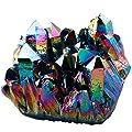 SUNYIK Titanium Coated Crystal Cluster,Quartz Druzy Point,Gemstone Sphere Figurine Specimen