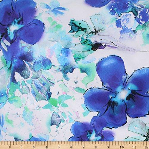 TELIO 0590115 Digital Cotton Stretch Sateen Floral Aqua Royal Fabric by The Yard