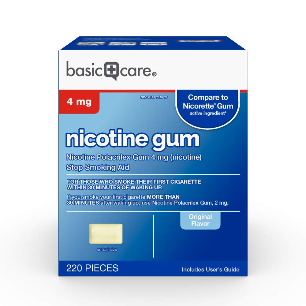 Basic Care Nicotine Gum 4mg, Stop Smoking Aid, Original, 220 Count by Basic Care