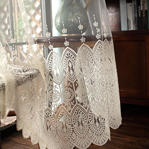 pureaqu Embroidered Flower Window Treatment Sheer Curtain Panel Drapes For French Door Rod Pocket Rustic White and Beige Voile Curtains For Bedroom Girls Room 1 Panel W39xH63 (Flower Door Curtain)