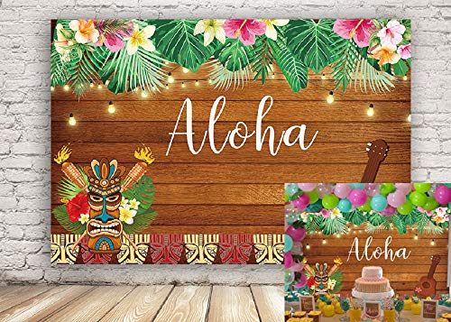 Fotupuul Summer Aloha Luau Party Backdrop Tropical Hawaiian Flowers Wooden Sculpture Photography Background Birthday Party Banner 7x5FT -