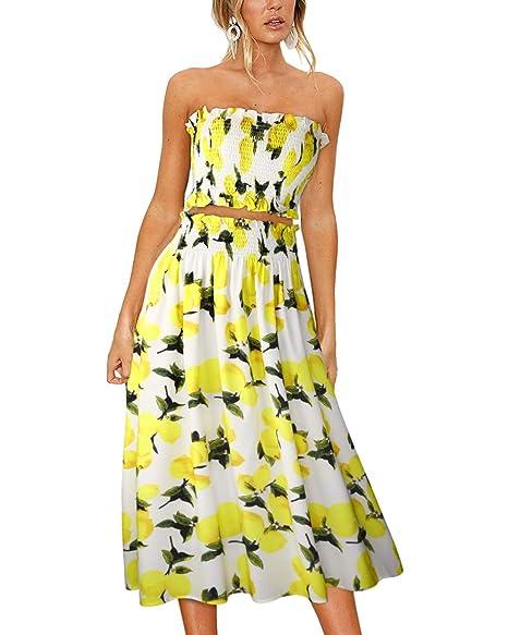 c32974510 ULTRANICE Women's Floral Print Tube Crop Top Maxi Skirt Set 2 Piece Outfit  Dress(Floral01