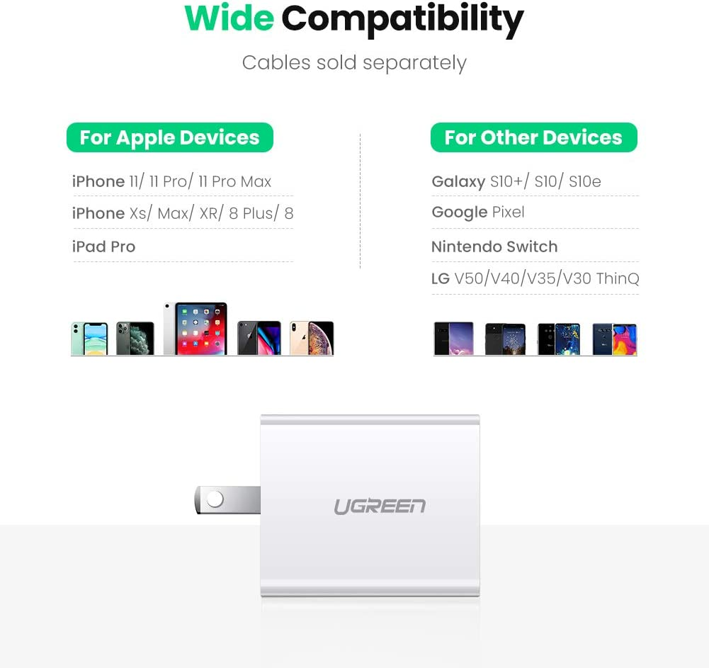 Google Pixel LG V50 5G G8 ThinQ Samsung Galaxy S10+ S9+ UGREEN USB C Charger 18W PD 3.0 Type C Wall Charger Power Delivery with Foldable Plug for iPhone SE 11 Pro Max Xs Max XR X 8 Plus iPad Pro