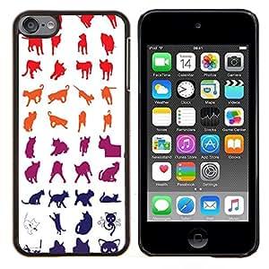 Caucho caso de Shell duro de la cubierta de accesorios de protecci¨®n BY RAYDREAMMM - Apple iPod Touch 6 6th Touch6 - Red White Blue Cat Patr¨®n Gatito felino