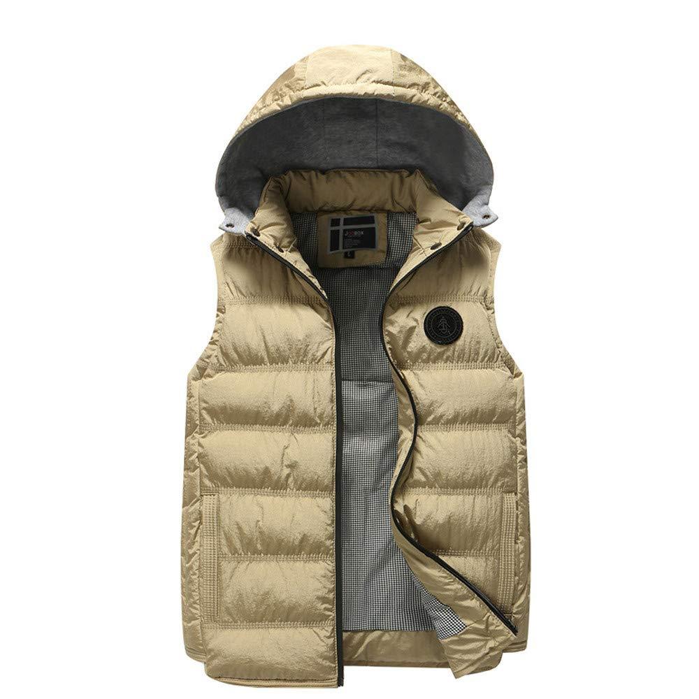 Men Autumn Winter Coat Vest Warm Hooded Thick Vest Tops Jacket