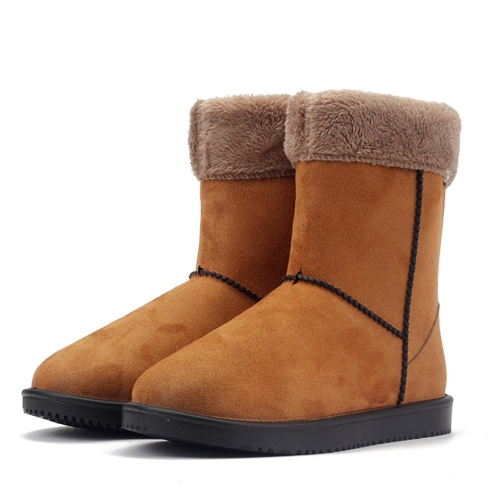 Women Girls Casual Outdoor Non-slip Snow Boots Warm Fur Lined Mid-calf Boots Thick Sole With Suede Boots
