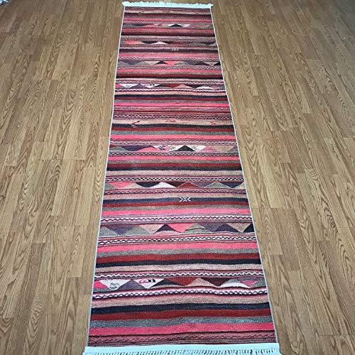Turkish Kilim Design Runner Rug for Hallway Entryway Kitchen Living Room 3'x10' (Actual 2.6'x10.4') (Pastel-Striped) ()