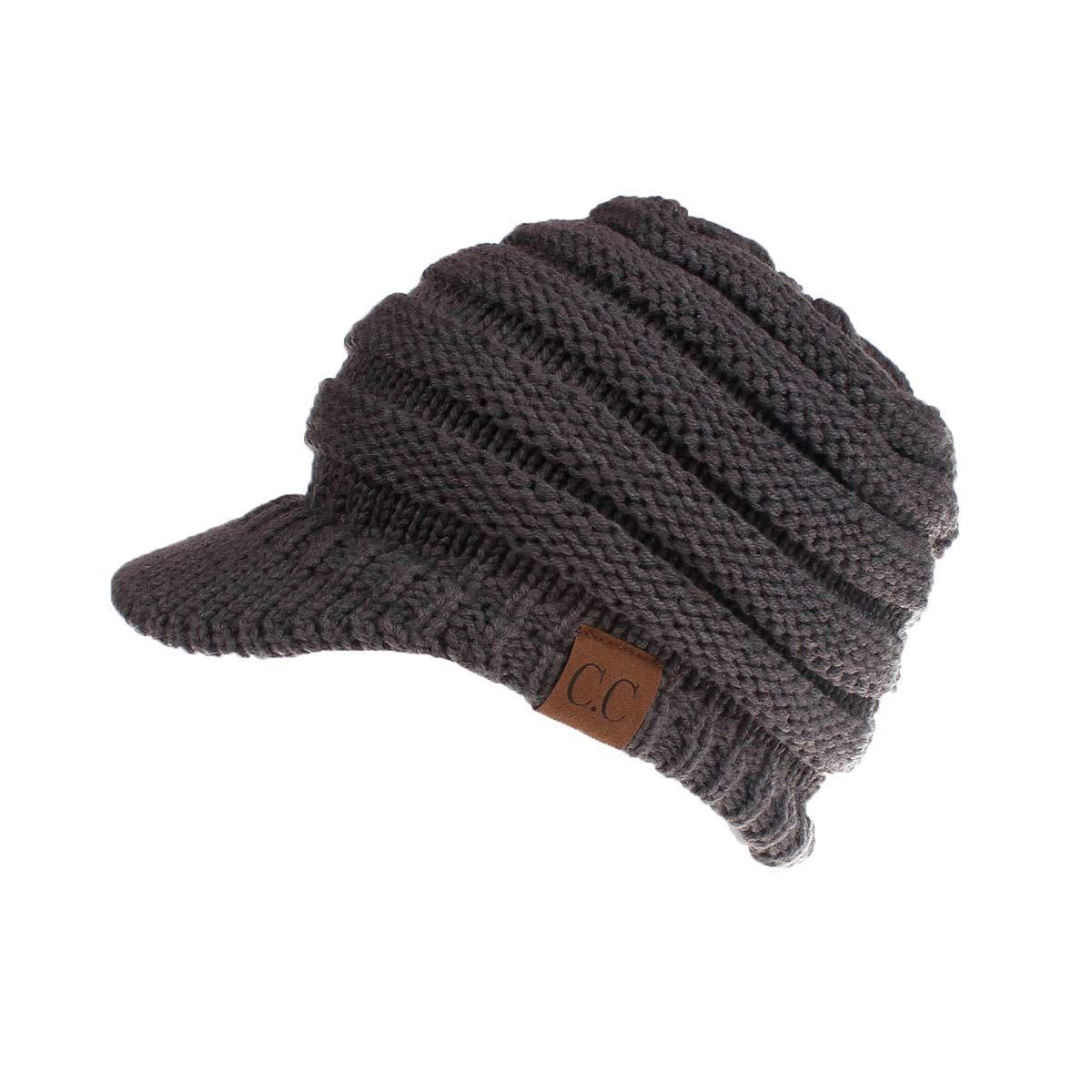 d22af1d1d CLOUSPO Women CC Ponytail Beanie Hat Winter Skully Messy Bun Hat with Brim