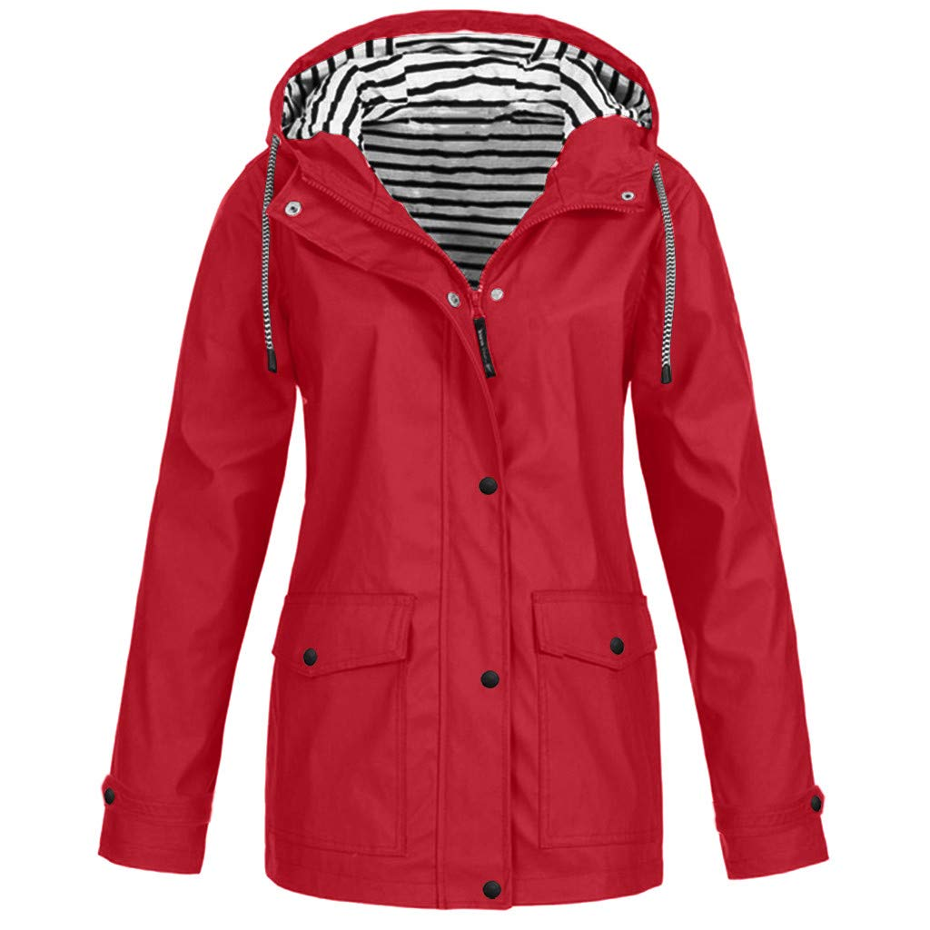 FEDULK Womens Hoodie Jacket Outdoor Waterproof Raincoat Windproof Hooded Coat Outwear Plus Size S-5XL(Red, XXXXX-Large) by FEDULK