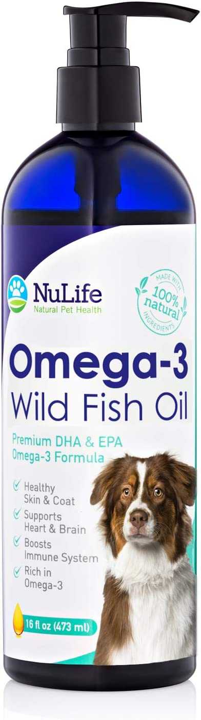 Pure Omega 3 Fish Oil for Dogs Liquid, Wild Caught from Iceland, Skin and Coat Supplement for Shedding, Dry Itchy Skin and Allergies, Rich in EPA + DHA with Omega 3, 6 & 9 Fatty Acids, 16 oz