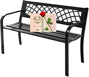 Bench Garden Bench Patio Bench Outdoor Bench Metal Park Bench with Armrests,Outside Bench Porch Chair,480lbs Cast Iron Sturdy Steel Frame Furniture Chair for Yard Porch Entryway Lawn Decor Deck,Black