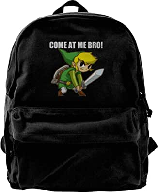 NJIASGFUI Mochila de lona Legend Of Zelda-Come At Me Bro para gimnasio, senderismo, portátil, bolso de hombro para hombres y mujeres