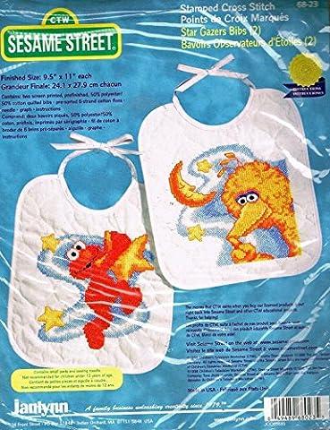 Sesame Street Stamped Cross Stitch Bib Kit 68-23 - Big Bird and Elmo Star Gazers 2 Bibs (Sesame Street Cross Stitch)
