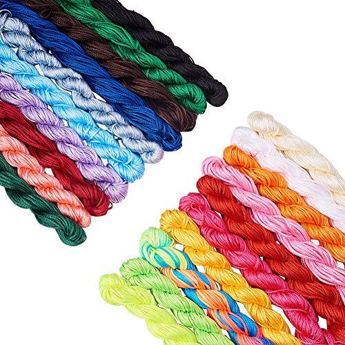 PH PandaHall 20 Colors 1mm Chinese Knotting Cord Nylon Shamballa Macrame Thread Cord Beading String for Bracelet Making(About 400m/ 430yards) (Best Cord For Macrame Bracelets)