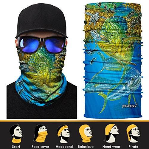 Sun Face Design - JOEYOUNG 3D Face Sun Mask, Headwear, Neck Gaiter, Magic Scarf, Balaclava, Bandana, Headband for Fishing, Hunting, Hiking, Yard Work, Moisture Wicking UV Protection, Great for Men & Women