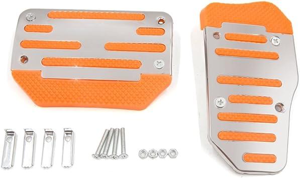 2Pcs Car Auto Automatic Brake Non Slip Pedal Pad Cover Set Silver Tone Universal