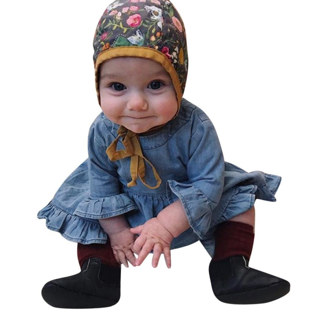 Toddler Ruched Dress Baby Girls Long Sleeve Denim Dress Solid Princess Spring Autumn