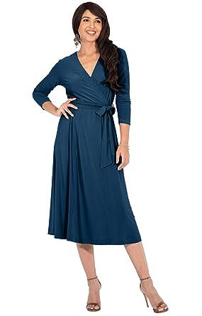 0dcea1d8ad23 KOH KOH Womens V-Neck 3 4 Sleeve Semi Formal Wrap Flowy Knee Length ...
