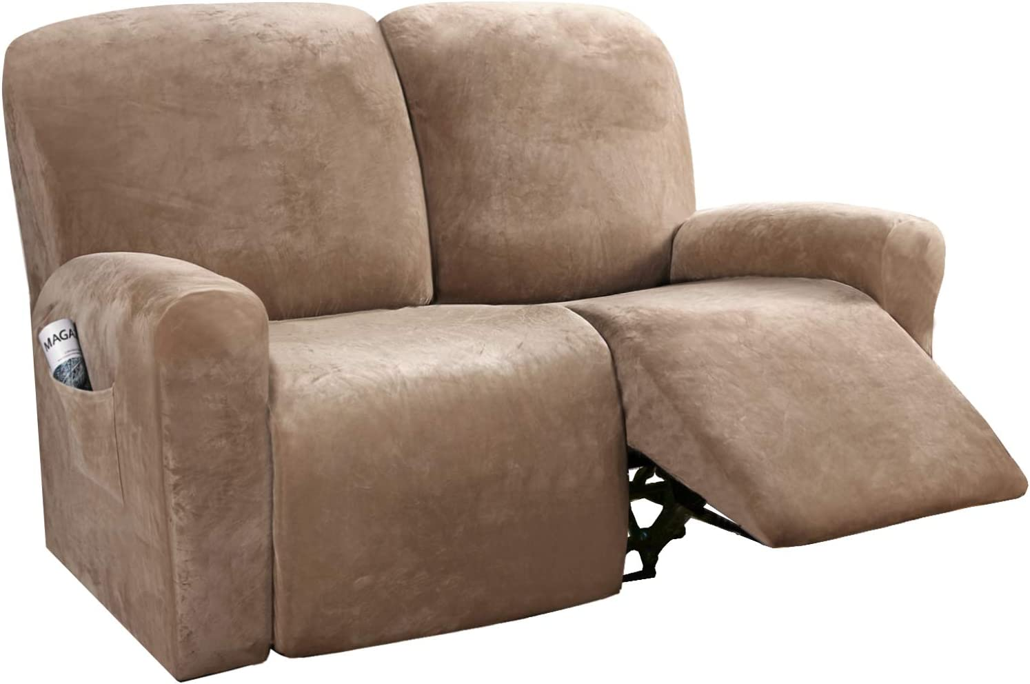 H.VERSAILTEX 6-Pieces Recliner Loveseat Covers Velvet Stretch Reclining Couch Covers for 2 Cushion Sofa Slipcovers Furniture Covers Form Fit Customized Style Thick Soft Washable(Medium, Camel)