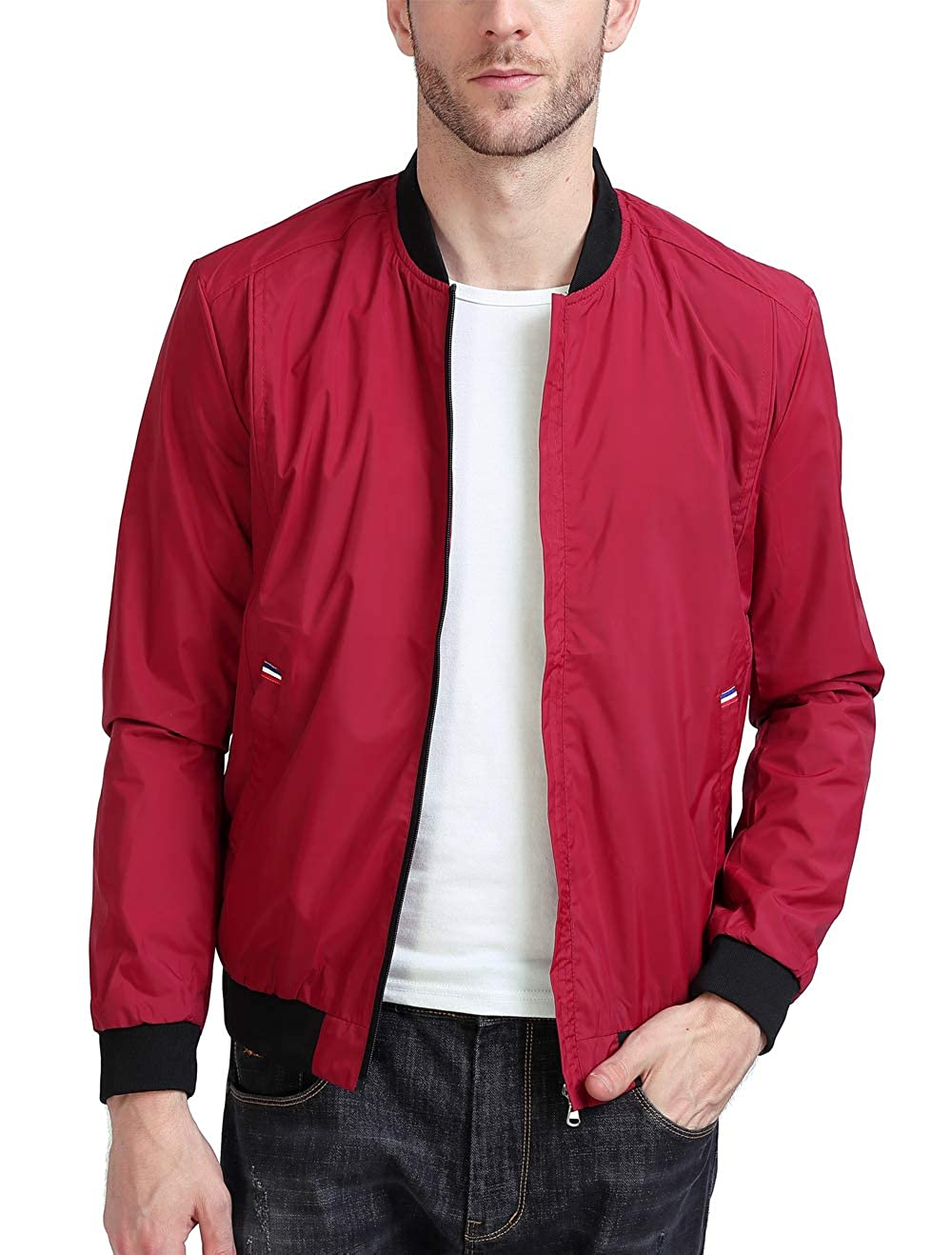 YIDI Men's Casual Classic Slim Bike Motorcycle Coat Outwear Long Sleeve Waterproof Bomber Jacket