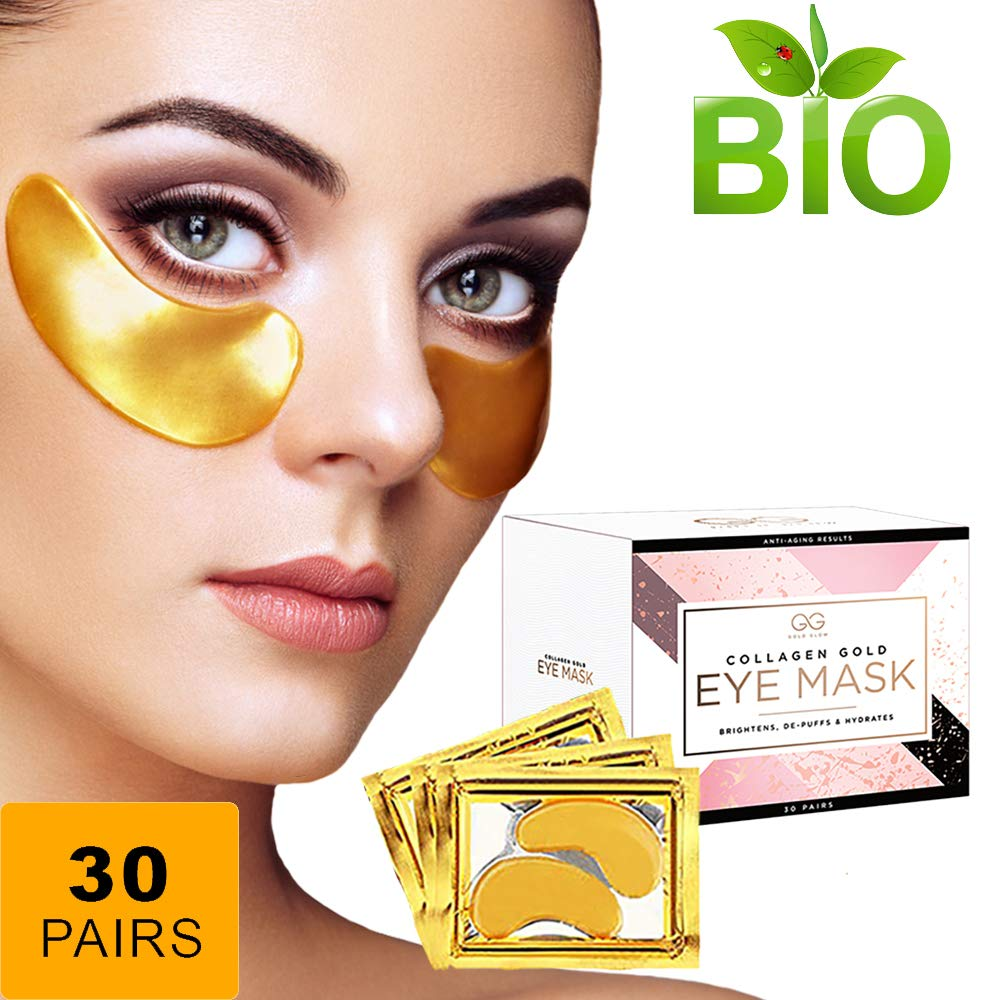 Gold Glow 24k Collagen Under Eye Treatment Patches | Hyaluronic Acid Eliminates Wrinkles, Dark Outs,Undereye Puffiness| Moisturiser Firming Eye Pads For Women & Men by Gold Glow