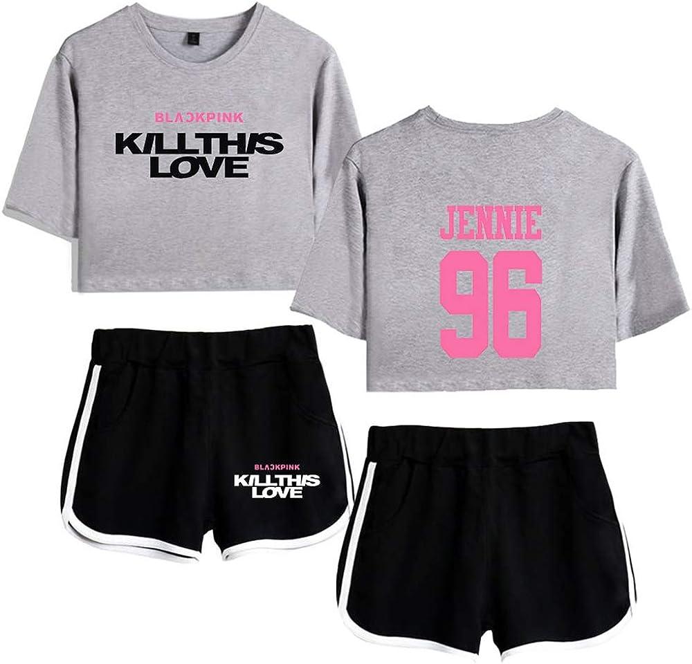 Blackpink Set Kill This Love Camiseta del Verano Ch/ándal De 2 Unidades Trajes Pantalones Cortos+Blusas De Los Cultivos De Las T-Shirt