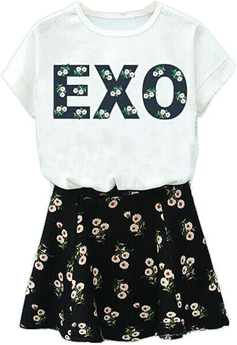 KPOP EXO BAEKHYUN chanyeal Sehun Printed T-Shirt + Floral falda ...