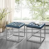 Cheap Newton Blue Leather Cube Ottoman – Metal Frame | Button Tufted | Modern & Contemporary | Inspired Home