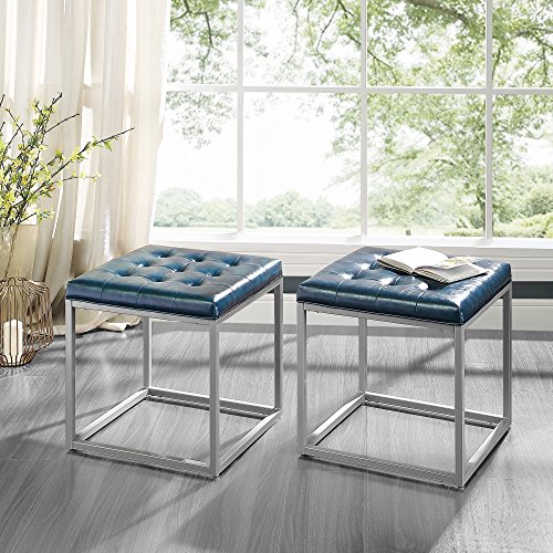 (Inspired Home Newton Blue Leather Cube Ottoman - Metal Frame | Button Tufted | Modern & Contemporary 1 pc ONLY)