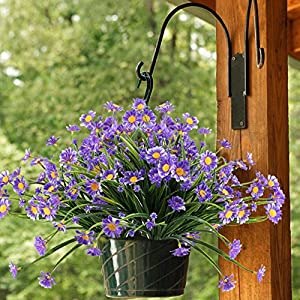 NAHUAA Artificial Plants, 4PCS Fake Daisy Flowers Greenery Bush Faux Plastic Wheat Grass Shrubs Table Centerpieces Arrangements Home Kitchen Office Indoor Outdoor Spring Decorations Purple 4